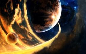 Wallpaper space, asteroid, planet, meteorite, Comet
