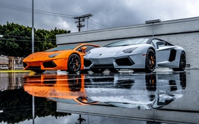 Picture Lamborghini, Grey, Orange, Orange, LP700-4, Aventador, Supercars, Silver, Supercars