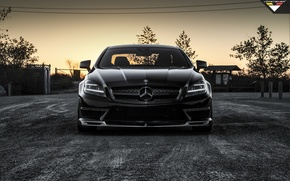 Picture car, tuning, black, Mercedes, tuning, the front, amg, rechange, vorsteiner, mercedes-benz cls 63