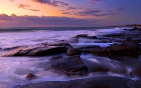 Picture sea, landscape, night, stones