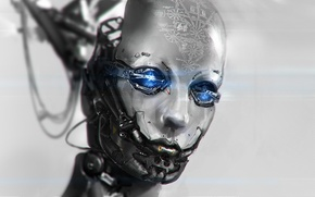 Wallpaper wire, robot, head, art, formula, Android