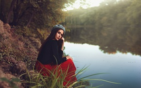 Picture forest, look, girl, trees, pose, sweetheart, shore, skirt, portrait, brunette, blouse, light, hat, river, beautiful, …