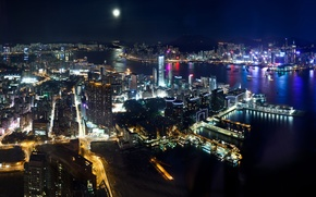 Picture the sky, water, night, city, the city, lights, lights, building, Hong Kong, skyscrapers, Bay, megapolis, …