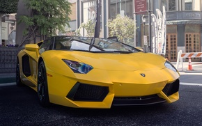 Picture Lamborghini, yellow, street, Aventador