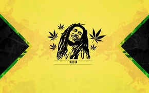 Picture bob marley, yellow, cannabis, jamaica, rasta
