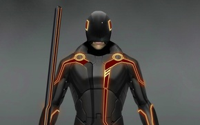 Picture weapons, costume, Tron Legacy, player, tron legacy