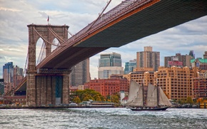 Picture bridge, Strait, building, sailboat, New York, Brooklyn bridge, Manhattan, Manhattan, New York City, Brooklyn Bridge, ...