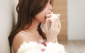 Picture girl, face, hair, cake, profile, piece