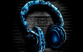 Picture blue, background, wall, headphones, headphones, stereo