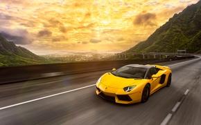 Picture Lamborghini, Light, Speed, Front, Yellow, LP700-4, Aventador, Road, Supercar, Spoiler