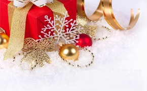 Picture snow, decoration, holiday, balls, new year, tape, gifts, new year, bow, snowflake, merry christmas, Christmas ...