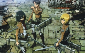 Picture pavers, destruction, emblem, swords, military uniform, Shingeki no Kyojin, Mikasa Ackerman, Eren Yeager, Armin Arlert, …