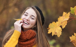 Picture autumn, leaves, girl, smile, mood, branch, scarf, maple, brown hair, takes