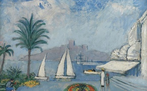 Picture picture, boat, yacht, home, Kees van Dongen, people, Sailboats in Cannes, the city, Palma, flowerbed, ...