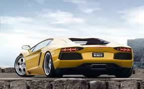Picture yellow, stop, mirror, lamborghini, drives, signal, aventador
