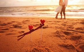 Picture sand, sea, wave, beach, girl, love, background, Wallpaper, romance, mood, heart, feelings, tape, hearts, love, ...