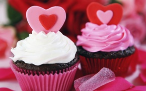 Picture heart, food, decoration, cake, cream, dessert, sweet, cupcake