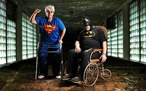 Picture Batman, Superwoman, old age, retirees