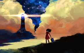 Picture sea, the sky, girl, light, clouds, the wind, lighthouse, suitcase, art, starry sky, Anndr