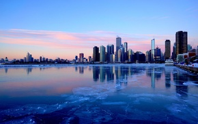 Wallpaper winter, the city, river, ice, skyscrapers, the evening, Chicago, Illinois