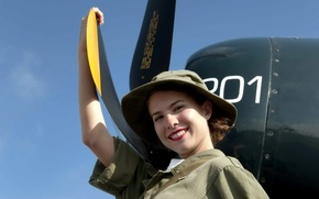 Picture girl, aviation, the plane