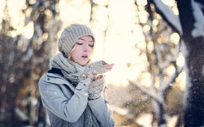 Picture girl, snow, mood