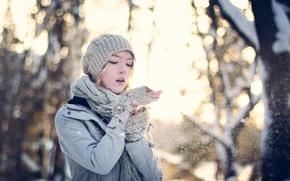 Wallpaper mood, snow, girl