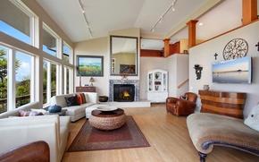 Picture design, sofa, Villa, interior, pictures, fireplace, living room
