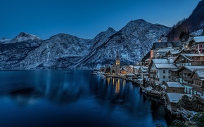 Picture winter, snow, mountains, lake, the evening, Austria, Church
