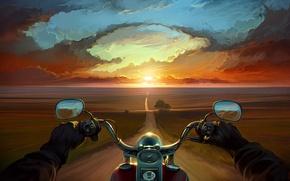 Wallpaper road, clouds, trees, sunset, hands, art, motorcycle, bike