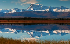 Picture reflection, mountains, valley, the sky, river, forest