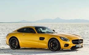Picture machine, auto, yellow, desert, coupe, Mercedes-Benz, Mercedes, sports car, Mercedes, AMG, 2014, Mercedes-AMG GT