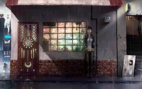 Picture girl, rain, anime, the door, art, waiting, visor