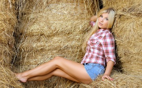 Picture feet, model, shorts, blonde, hay