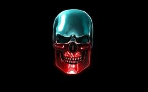 Picture blue, red, skull, head, skeleton, black background