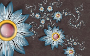 Picture flowers, Wallpaper, spiral, petals, the volume