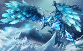 Picture cold, snow, bird, magic, ice, crystals, league of legends, Anivia