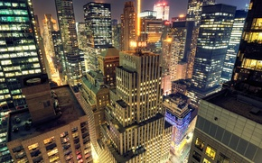 Picture night, the city, Wallpaper, New York, City, skyscrapers, New York, wallpapers, Midtown, Manhattan at Night