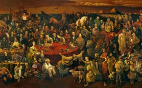 Picture Discussing the divine Comedy with Dante, 100 celebrities, large canvas