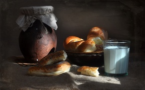 Picture photo, background, food, milk, food, bread, still life, composition, buns