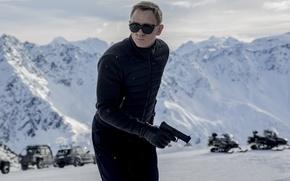 Wallpaper Action, Nature, Cars, Winter, Daniel Craig, 007, Black, Snow, Wallpaper, Guns, Mountains, James Bond, Year, ...