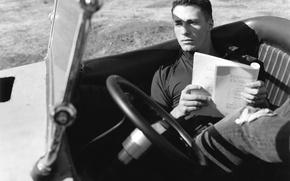 Picture the wheel, actor, black and white, car, salon, Colton Haynes