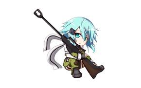Picture game, anime, chibi, pretty, sniper, asian, rifle, cute, manga, pretty girl, scarf, japanese, Sword Art …