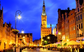 Wallpaper night, lights, street, home, Poland, lights, Gdansk