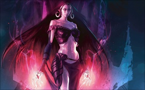 Picture girl, flame, magic, hair, dark, characters, MAG, worlds, dark, long, Magic The Gathering, Liliana of …