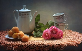 Picture flowers, roses, texture, kettle, Cup, still life, apricots