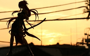 Picture road, girl, sunset, sword, katana, silhouette, hill, ribbons