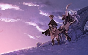 Wallpaper the sky, girl, clouds, weapons, anime, art, guy, miwa shirow, bravely second, magnolia arch