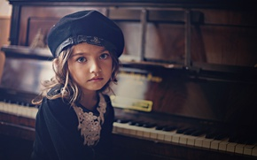 Picture portrait, girl, piano