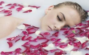Picture girl, petals, milk, bath